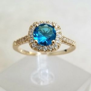 18k Over Sterling Topaz Ring